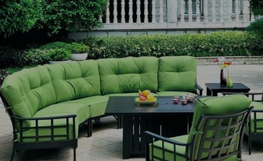 Green cushions on an outdoor metal couch