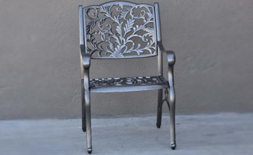 Shiny metal decorative garden chair