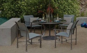 outdoor dining set with sling chairs