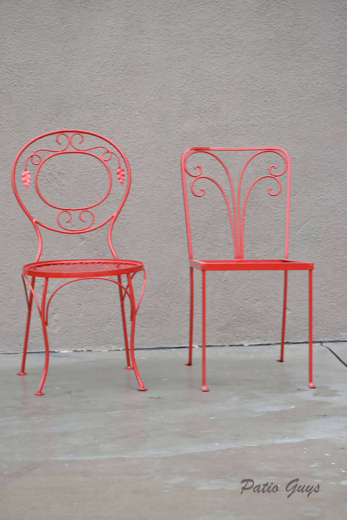 Red wrought iron decorative garden chairs