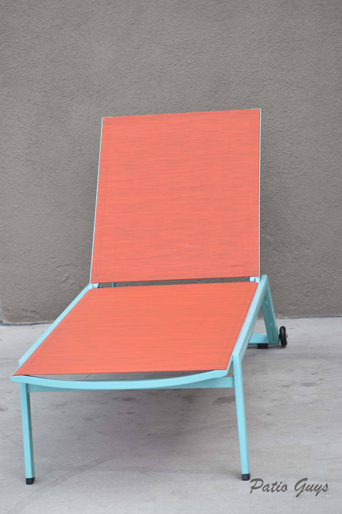 light blue chaise frame with orange sling