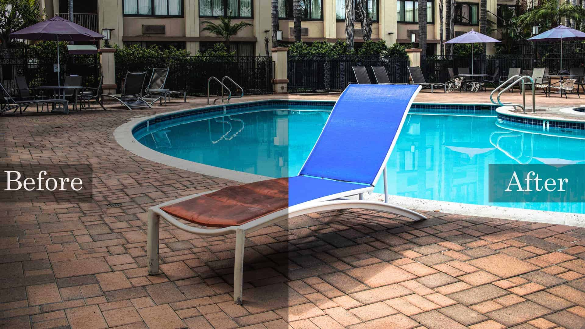 Before and after of a chaise lounge in front of a hotel pool