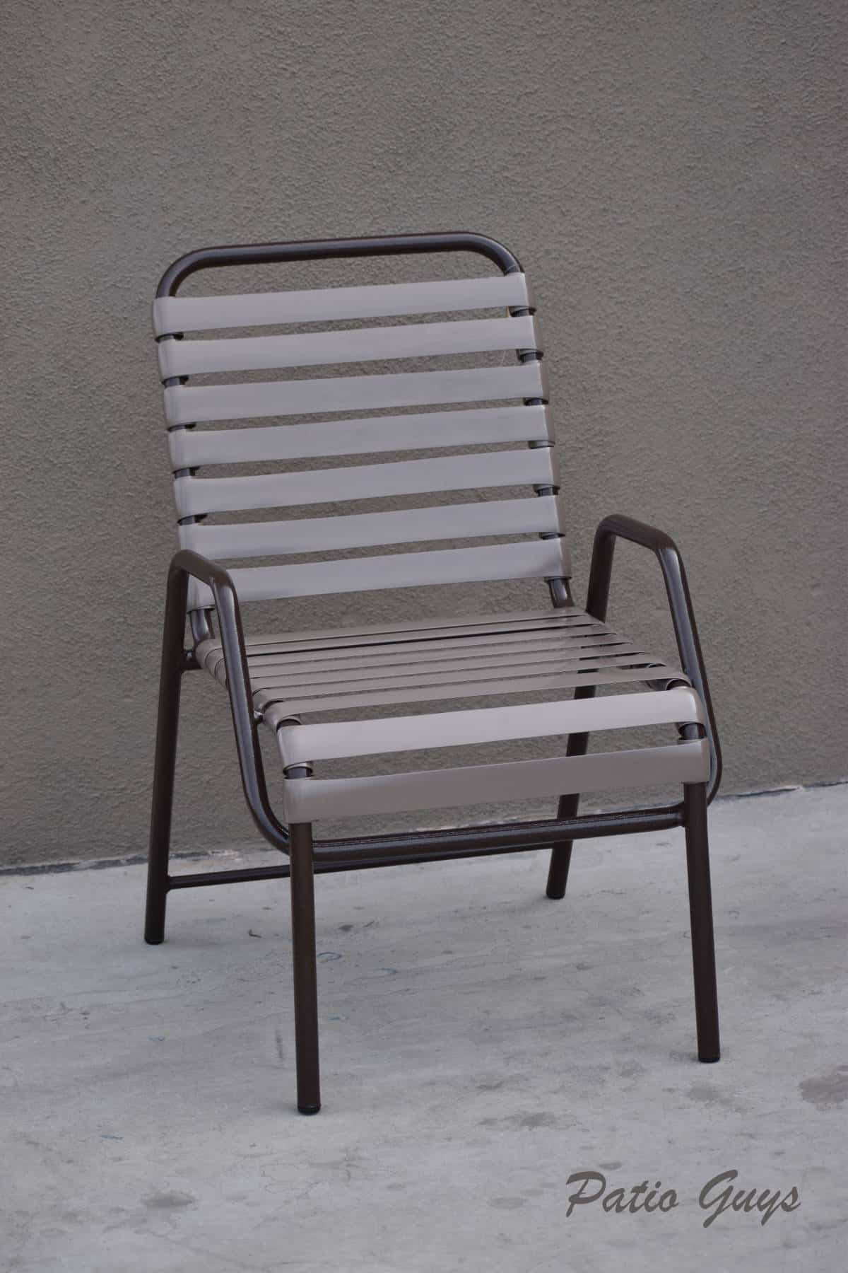light and dark brown straight strap outdoor chair