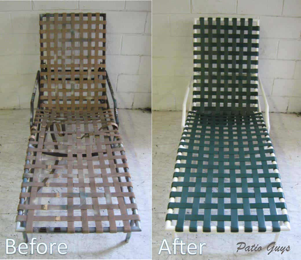 Cantina chaise before and after from brown to dark green