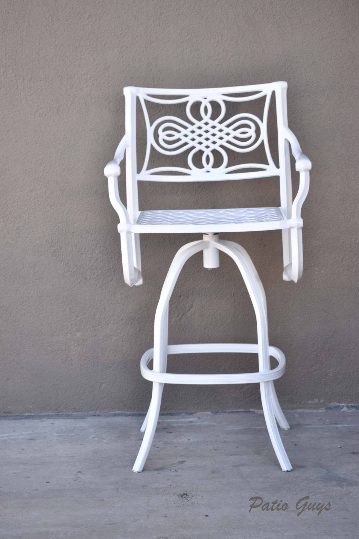 White metal outdoor bar stool