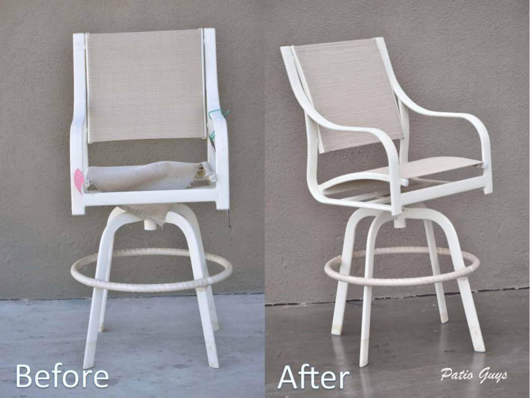 beige sling bar stool before and after