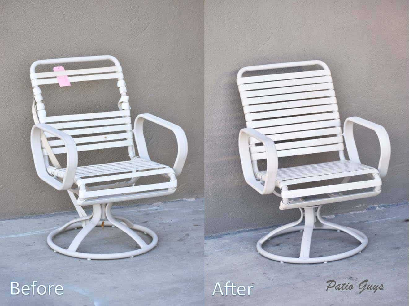 White outdor strap swivel chair before and after